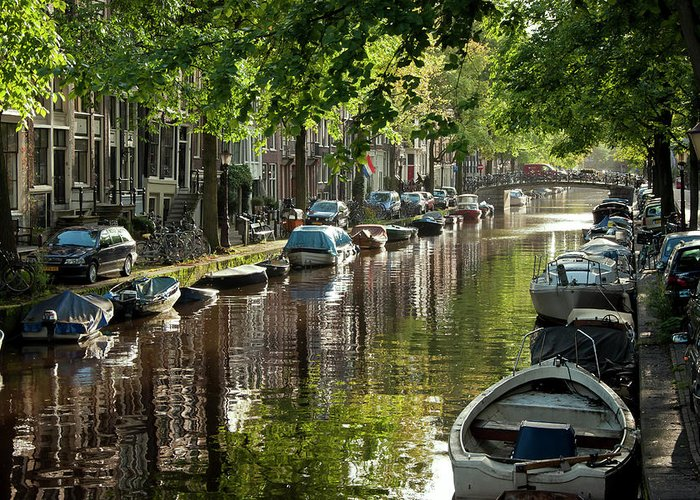 Age Greeting Card featuring the photograph Amsterdam Canal by Joan Carroll