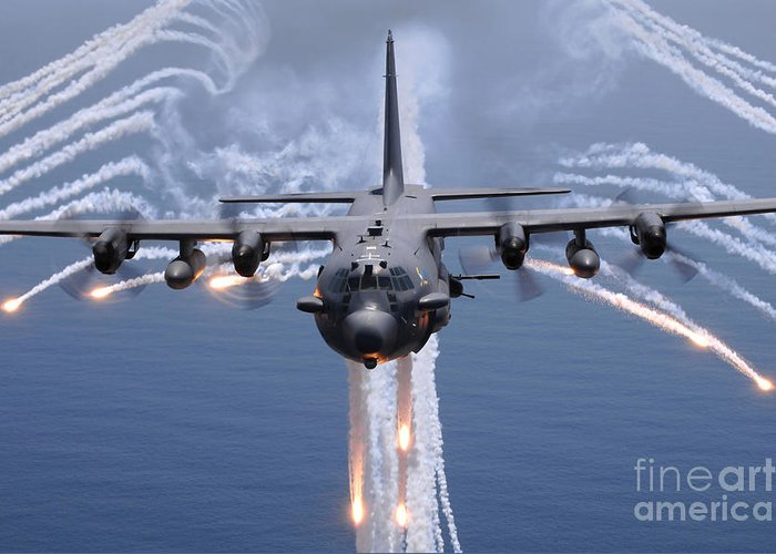 Ac-130 Greeting Card featuring the photograph An Ac-130h Gunship Aircraft Jettisons by Stocktrek Images