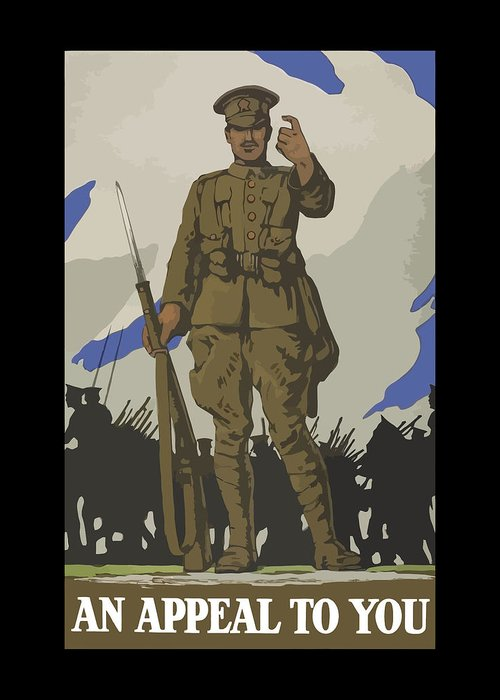 Propaganda Greeting Card featuring the painting An Appeal To You by War Is Hell Store
