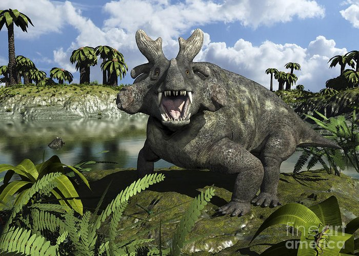 Earth Greeting Card featuring the digital art An Estemmenosuchus Mirabilis Stands by Walter Myers