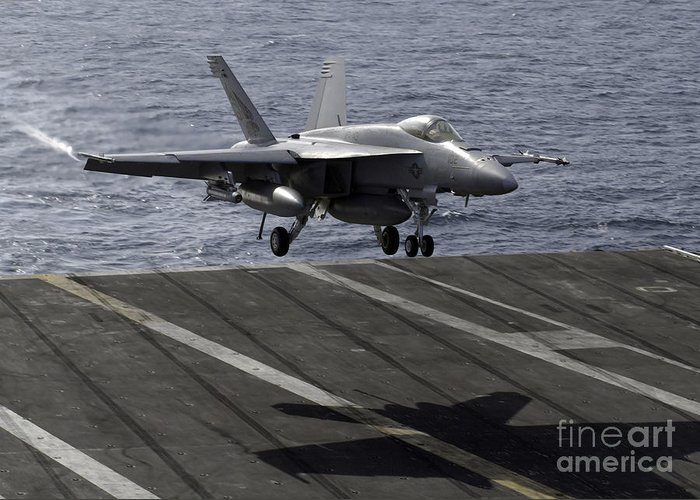 Aircraft Greeting Card featuring the photograph An Fa-18e Super Hornet Prepares To Land by Stocktrek Images