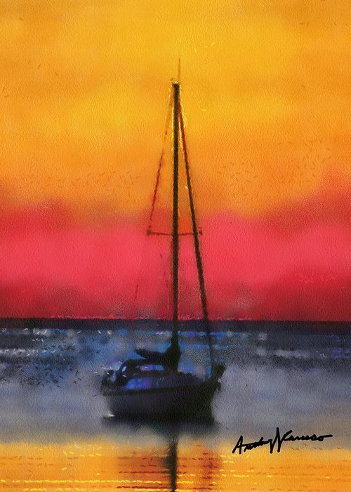 Sunset Greeting Card featuring the painting Anchored by Anthony Caruso