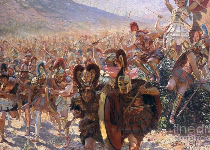 Ancient Warriors (oil On Canvas) By Georges Marie Rochegrosse (1859-1938) Greeting Card featuring the painting Ancient Warriors by Georges Marie Rochegrosse