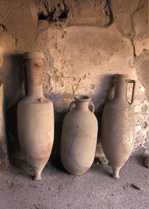 Ancient Greeting Card featuring the photograph Ancient Wine Clay Vases In A Wine by Richard Nowitz