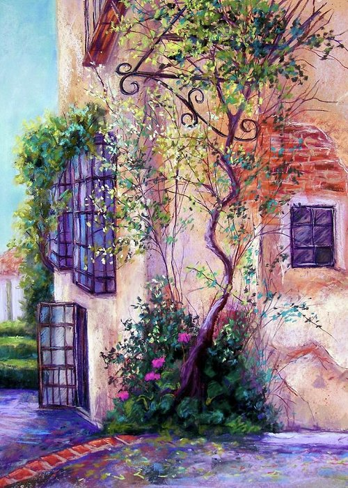 Spanish Landscape Greeting Card featuring the pastel Andalucian Garden by Candy Mayer