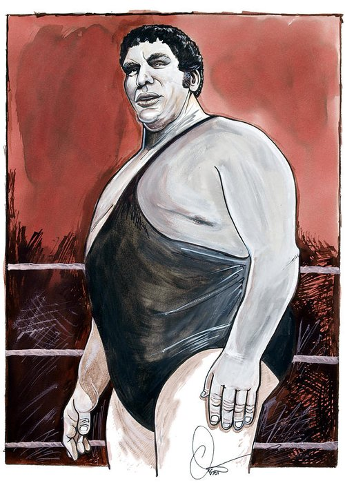 Andre The Giant Greeting Card featuring the painting Andre The Giant by Dave Olsen