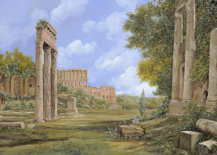 Landscapes Greeting Card featuring the painting Anfiteatro Romano by Guido Borelli
