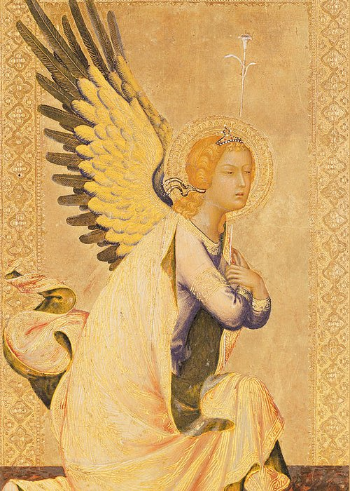 Angel Gabriel Greeting Card featuring the painting Angel Gabriel by Simone Martini