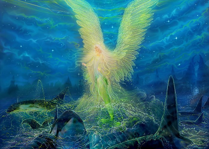 Angel Tarot Card Greeting Card featuring the painting Angel Tarot Card Mermaid Angel by Steve Roberts
