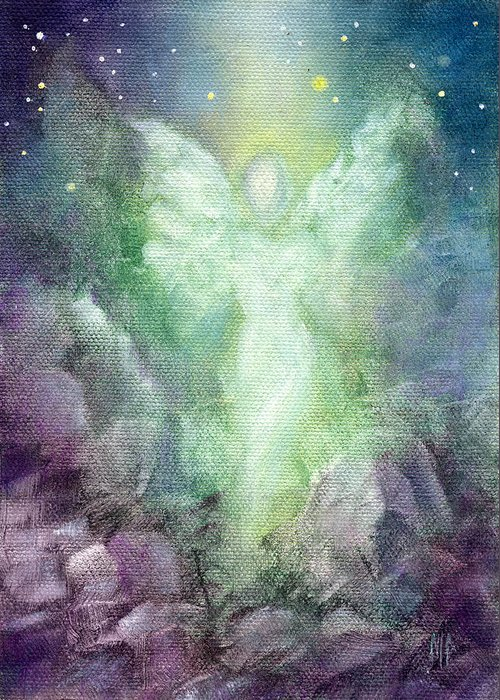 Angel Greeting Card featuring the painting Angels Journey by Marina Petro