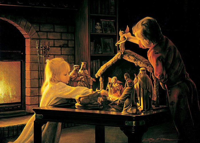 Christmas Greeting Card featuring the painting Angels Of Christmas by Greg Olsen