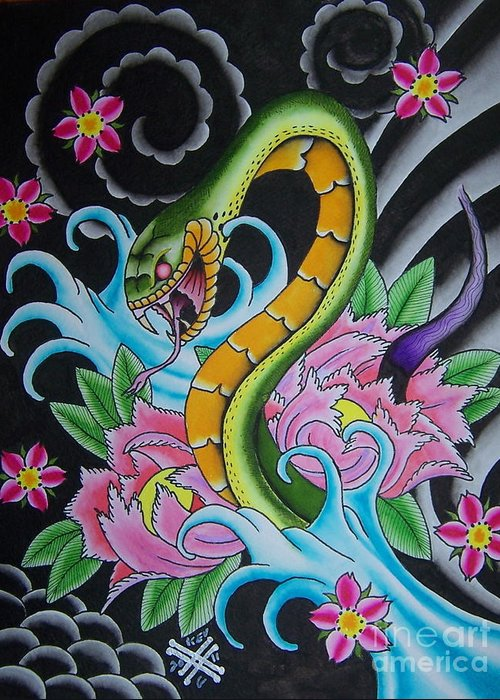 Tattoo Flash Greeting Card featuring the painting Angry Snake by Kev G