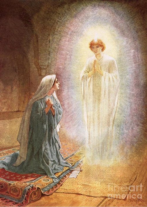 Annunciation By William Brassey Hole (1846-1917) Bible; Jesus Christ; Annunciation; Virgin Mary; Angel Gabriel; Incarnation; Kneeling; Carpet; Christian Greeting Card featuring the painting Annunciation by William Brassey Hole