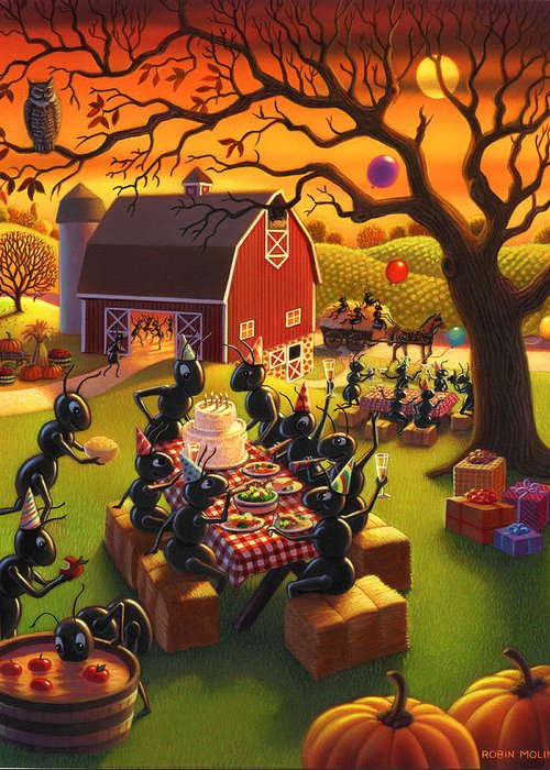 Ant Characters Greeting Card featuring the painting Ant Party by Robin Moline