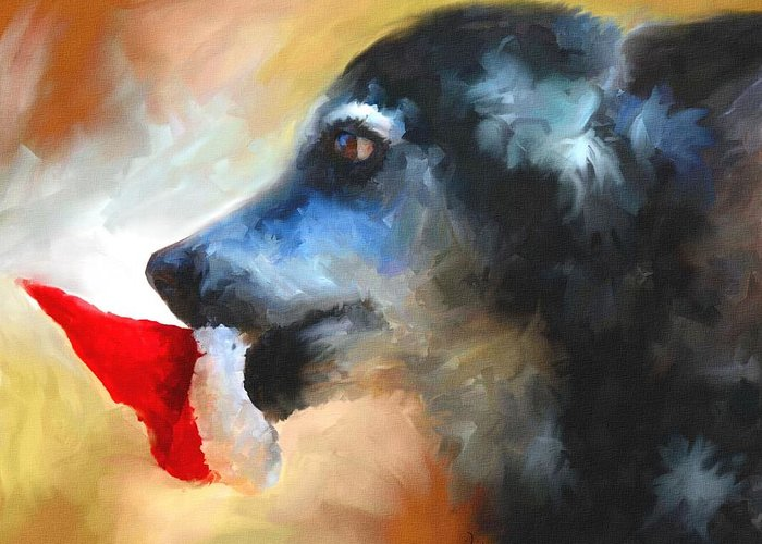 Dog Greeting Card featuring the painting Anticipating Christmas by Jai Johnson