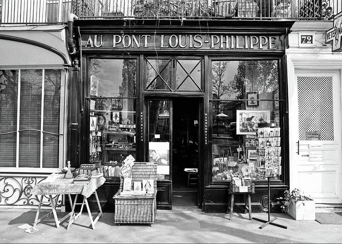 Black Greeting Card featuring the photograph Antique Shop Paris France by Gerry Walden