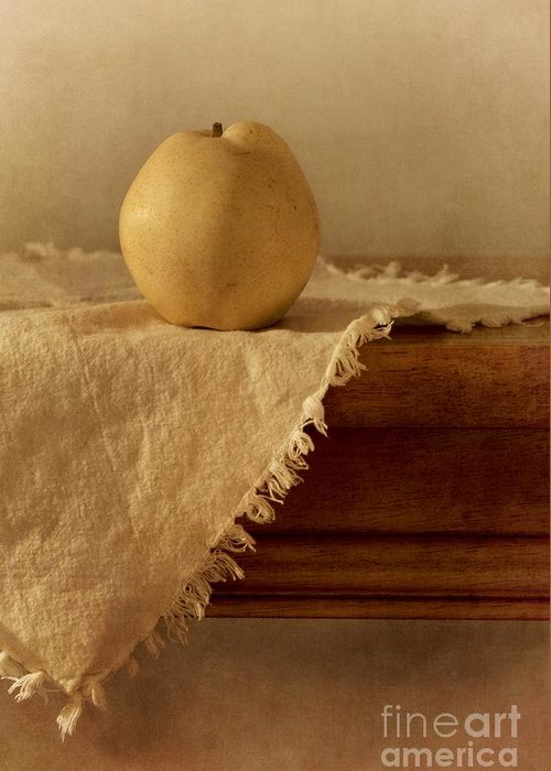 Dining Room Greeting Card featuring the photograph Apple Pear On A Table by Priska Wettstein