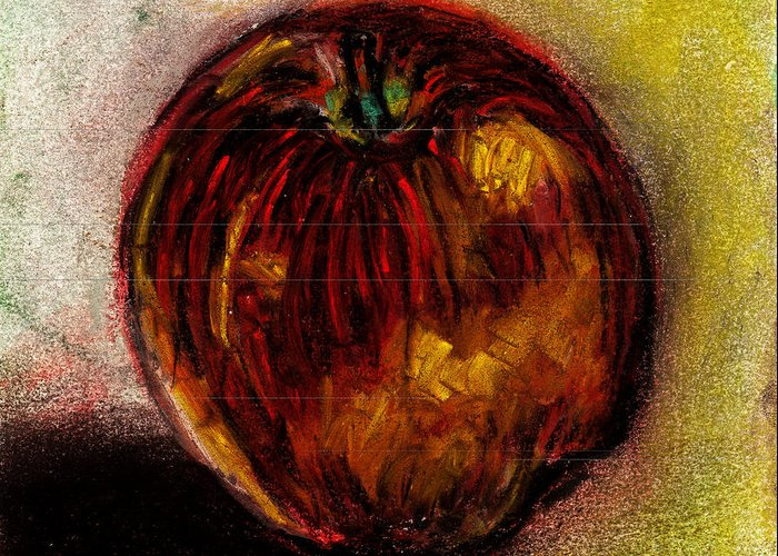 Apple Greeting Card featuring the pastel Apple by Rashmi Rao