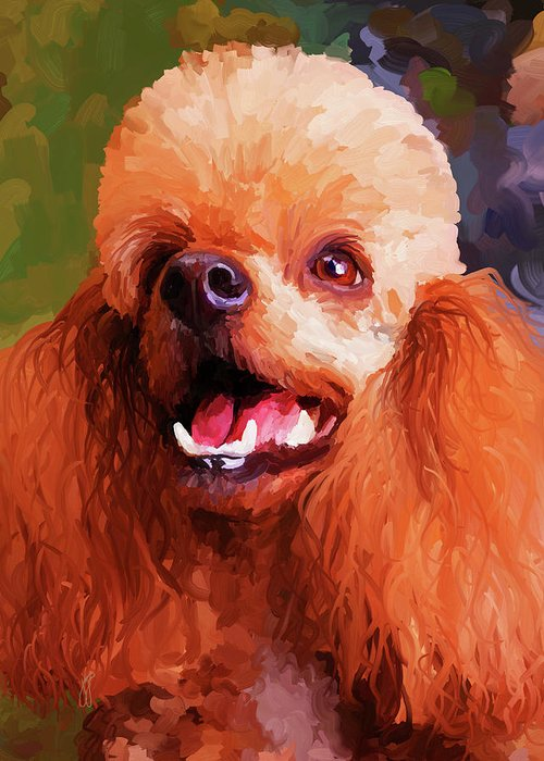 Apricot Greeting Card featuring the painting Apricot Poodle by Jai Johnson