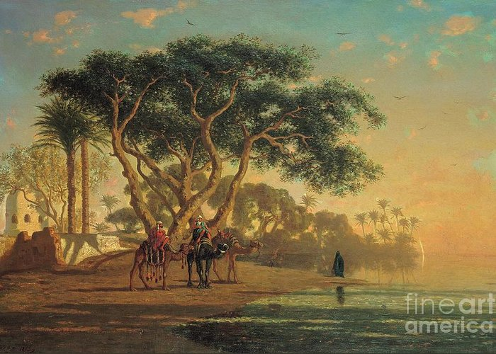 Arab Greeting Card featuring the painting Arab Oasis by Narcisse Berchere
