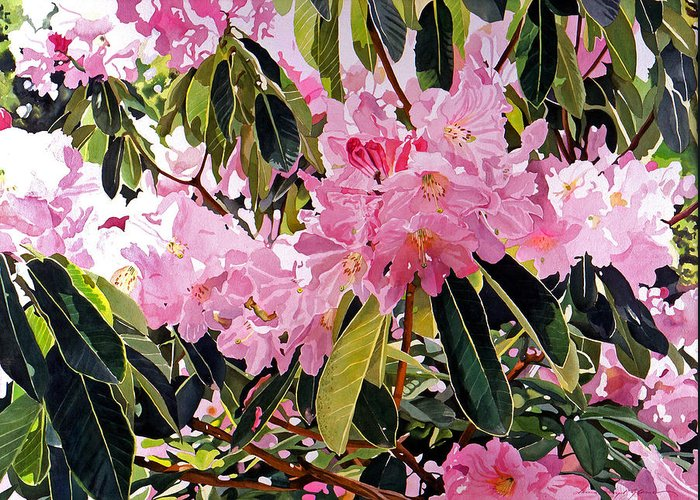 Flowers Greeting Card featuring the painting Arboretum Rhododendrons by David Lloyd Glover