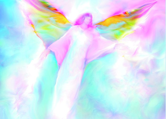 Angels Greeting Card featuring the painting Archangel Gabriel In Flight by Glenyss Bourne