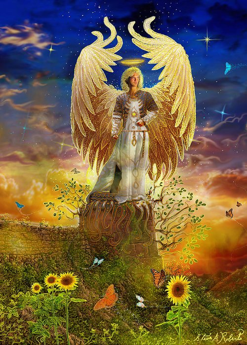 Angel Greeting Card featuring the painting Archangel Uriel by Steve Roberts