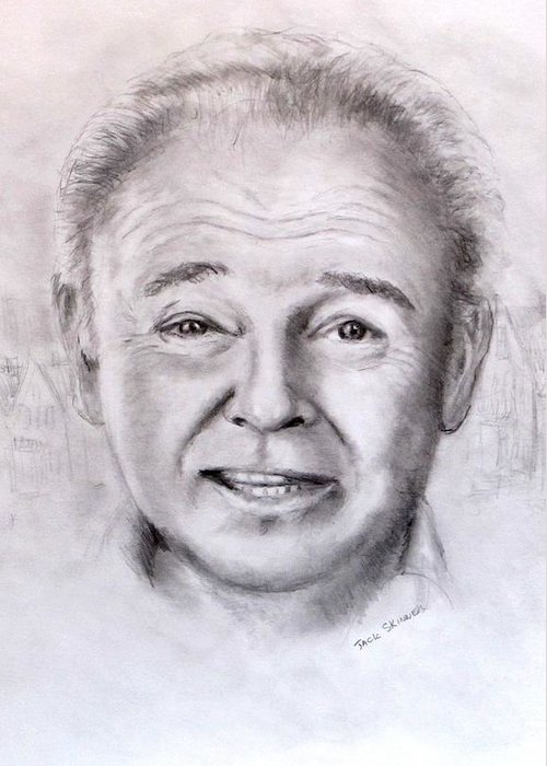 Archie Bunker Greeting Card featuring the drawing Archie by Jack Skinner