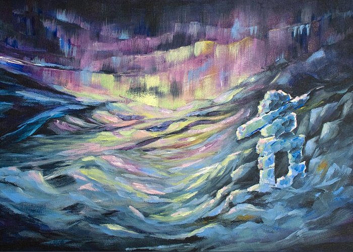 Artic Greeting Card featuring the painting Arctic Experience by Joanne Smoley