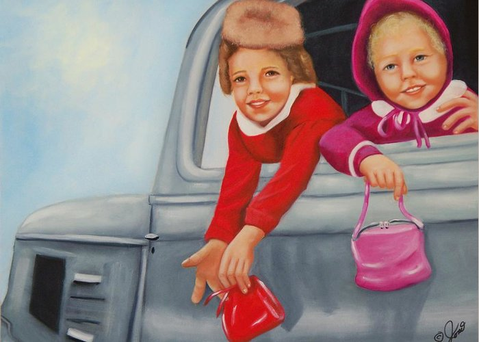 Portraits Greeting Card featuring the painting Are We There Yet by Joni McPherson
