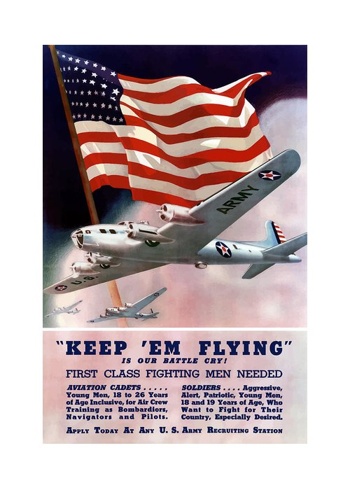 Army Greeting Card featuring the painting Army Air Corps Recruiting Poster by War Is Hell Store