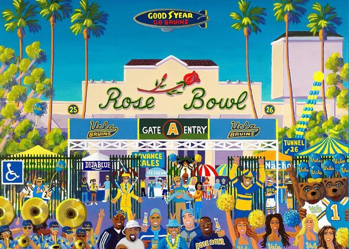 Rose Bowl Greeting Card featuring the painting Arroyo Psychos by Frank Strasser