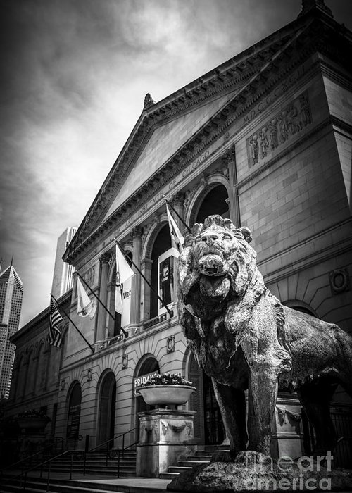 America Greeting Card featuring the photograph Art Institute Of Chicago Lion Statue In Black And White by Paul Velgos