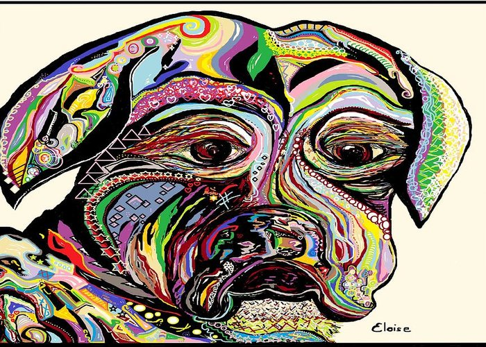 Dog Greeting Card featuring the painting Colorful Boxer by Eloise Schneider
