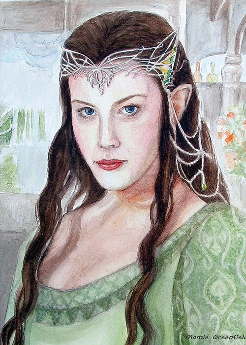 Portraits Greeting Card featuring the painting Arwen by Mamie Greenfield