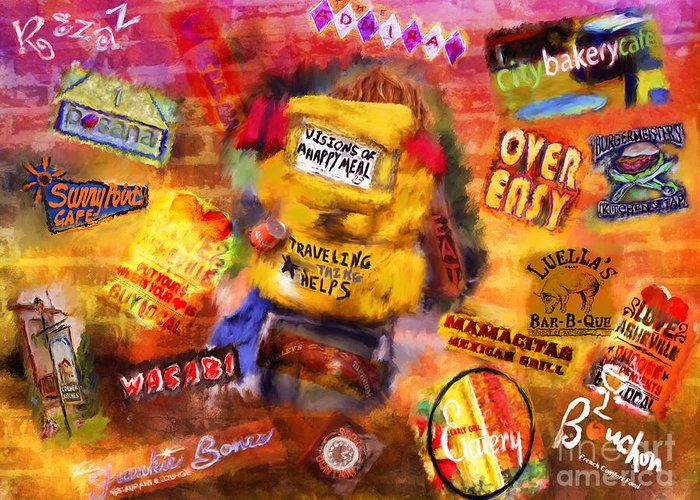 Asheville Greeting Card featuring the mixed media Asheville Eats by Marilyn Sholin