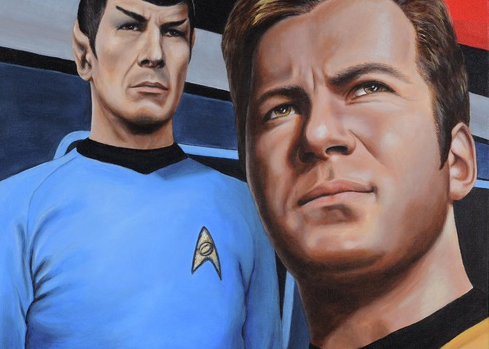 Star Trek Greeting Card featuring the painting Assessing A Formidable Opponent by Kim Lockman