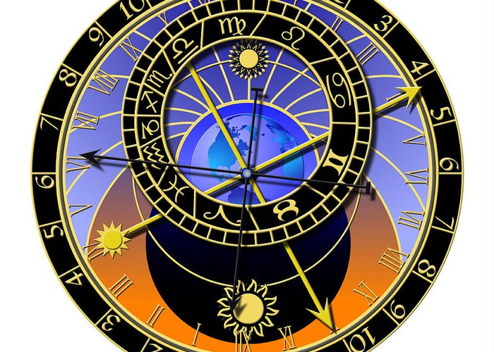 Abstruse Greeting Card featuring the digital art Astronomical Clock by Michal Boubin