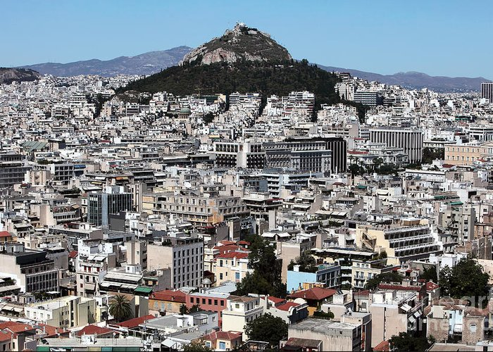 Athens City View Greeting Card featuring the photograph Athens City View by John Rizzuto