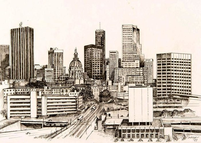 Atlanta Greeting Card featuring the drawing Atlanta Skyline by Pamir Thompson