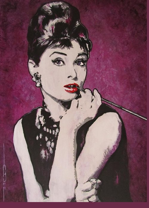 Audrey Hepburn May 4 1929 - Jan 20 1993 . Moon River. Breakfast At Tiffany's. Greeting Card featuring the painting Audrey Hepburn - Breakfast by Eric Dee