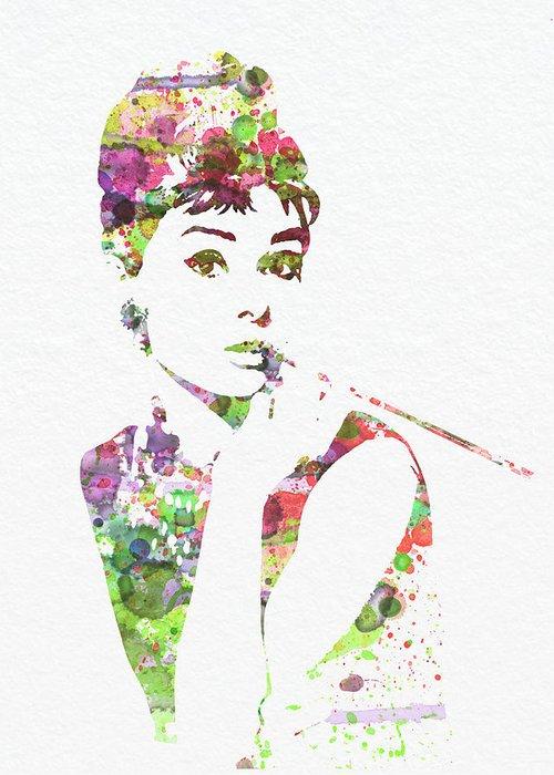 Audrey Hepburn Greeting Card featuring the painting Audrey Hepburn 2 by Naxart Studio