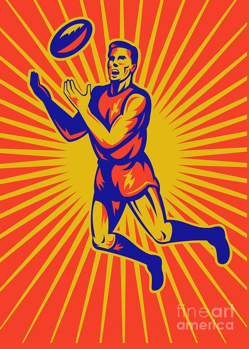 Aussie Rules Greeting Card featuring the digital art Aussie Rules Player Jumping Ball by Aloysius Patrimonio