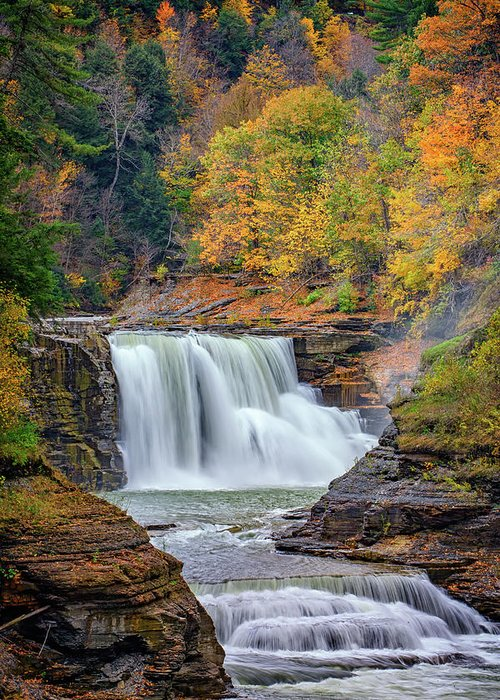 Autumn Greeting Card featuring the photograph Autumn At The Lower Falls by Rick Berk