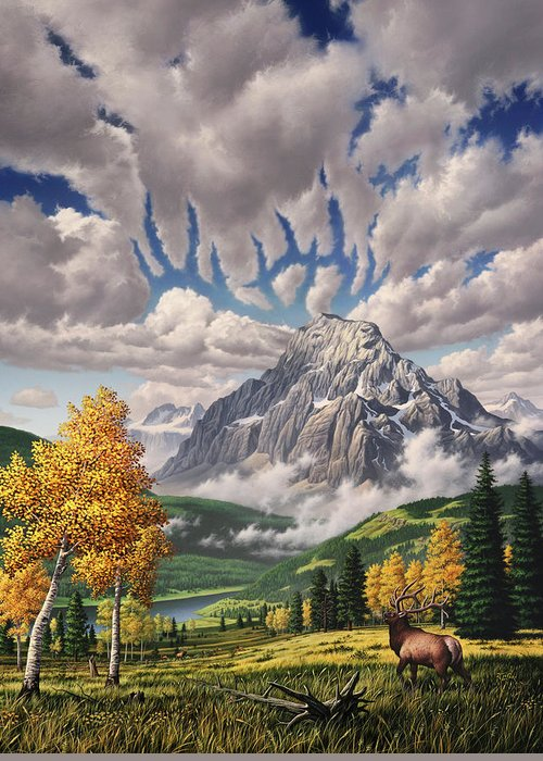 Elk Greeting Card featuring the painting Autumn Echos by Jerry LoFaro