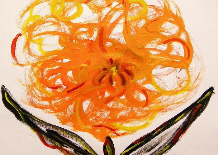 Kensington Greeting Card featuring the painting Autumn Hope Flower by Mary Carol Williams