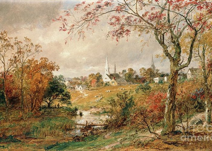 Autumn Landscape Greeting Card featuring the painting Autumn Landscape by Jasper Francis Cropsey