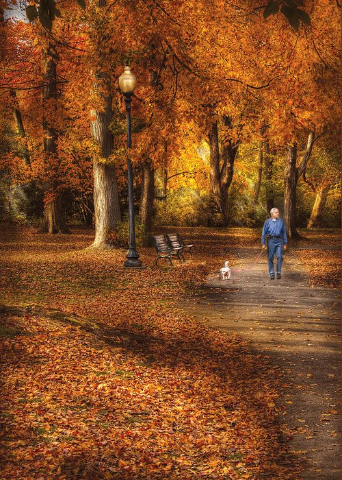 Savad Greeting Card featuring the photograph Autumn - People - A Walk In The Park by Mike Savad