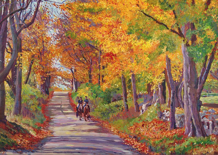 Landscape Greeting Card featuring the painting Autumn Ride by David Lloyd Glover