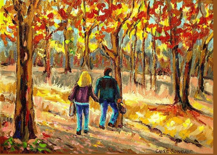 Autumn Stroll On Mount Royal Greeting Card featuring the painting Autumn Stroll On Mount Royal by Carole Spandau